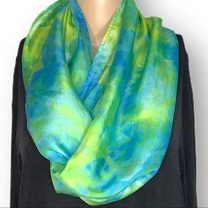 Hand dyed silk infinity scarf blue green ocean